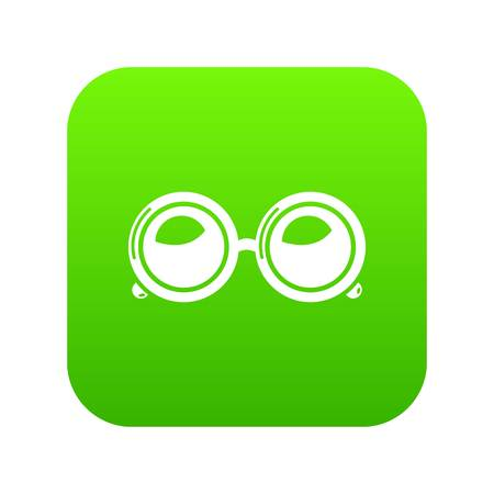 Spectacles icon green vector isolated on white background