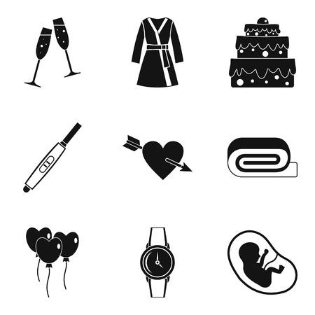Feminine principle icons set. Simple set of 9 feminine principle vector icons for web isolated on white background Ilustracja