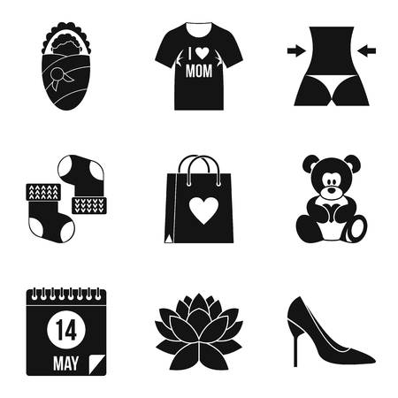 Different icons of a woman or mothers day vector illustration