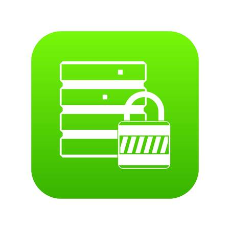Database with padlock icon digital green for any design isolated on white vector illustration