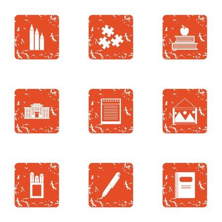Study undertaking icons set. Grunge set of 9 study undertaking vector icons for web isolated on white background Фото со стока - 100489348