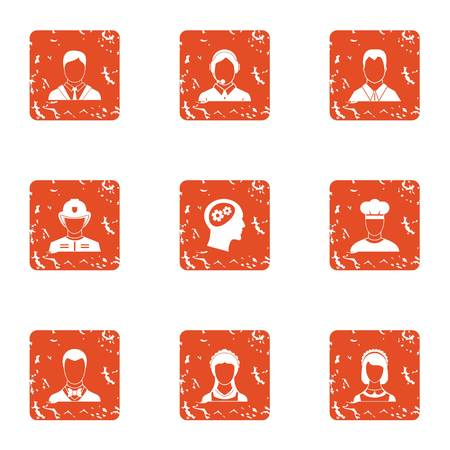 Skill character icons set. Grunge set of 9 skill character vector icons for web isolated on white background