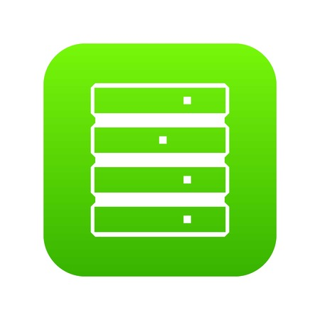 Database icon digital green for any design isolated on white vector illustration