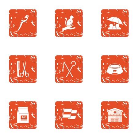 Animal custody icons set. Grunge set of 9 animal custody vector icons for web isolated on white background Illustration