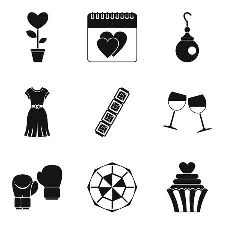 Female beginning icons set. Simple set of 9 female beginning vector icons for web isolated on white background