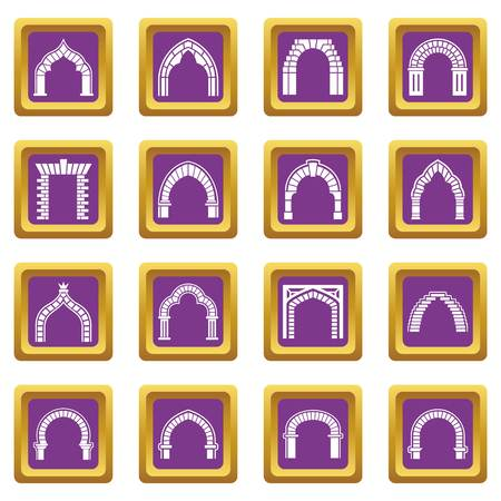 Arch types icons set vector purple square isolated on white background   イラスト・ベクター素材