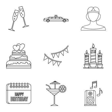 Women share icons set. Outline set of 9 women share vector icons for web isolated on white background