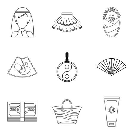 Female pleasure icons set. Outline set of 9 female pleasure vector icons for web isolated on white background