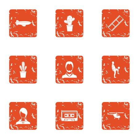 Distant territory icons set. Grunge set of 9 distant territory vector icons for web isolated on white background