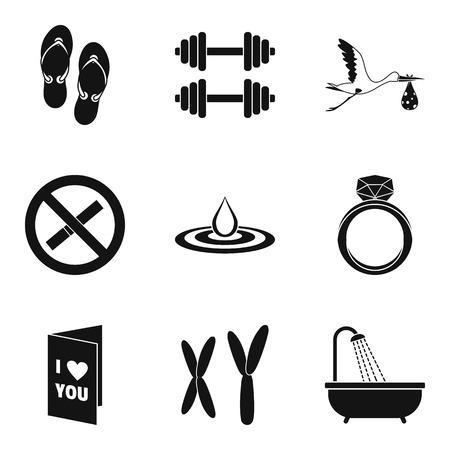 Female origin icons set. Simple set of female origin vector icons for web isolated on white background Ilustracja