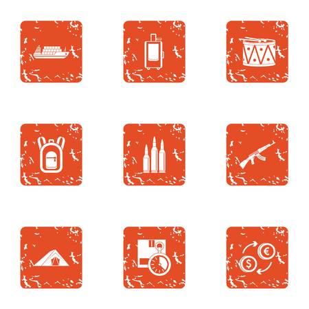 Business undertaking icons set. Grunge set of business undertaking vector icons for web isolated on white background Фото со стока - 100456407