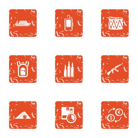 Business undertaking icons set. Grunge set of business undertaking vector icons for web isolated on white background