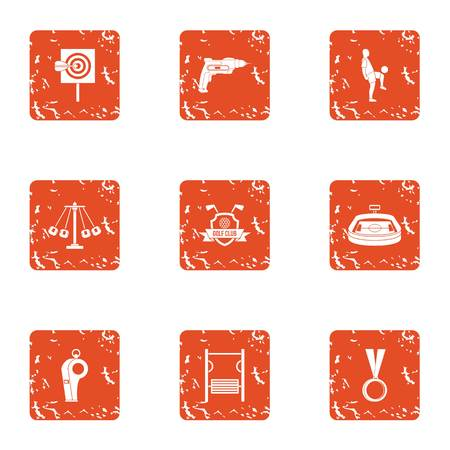 Football manager icons set. Grunge set of football manager vector icons for web isolated on white background