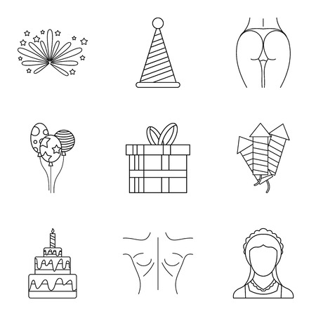 Milady icons set. Outline set of milady vector icons for web isolated on white background