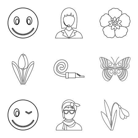 Ladyship icons set. Outline set of ladyship vector icons for web isolated on white background