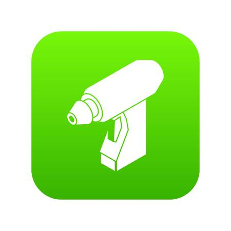 Manual welding torch icon green vector isolated on white background Illustration