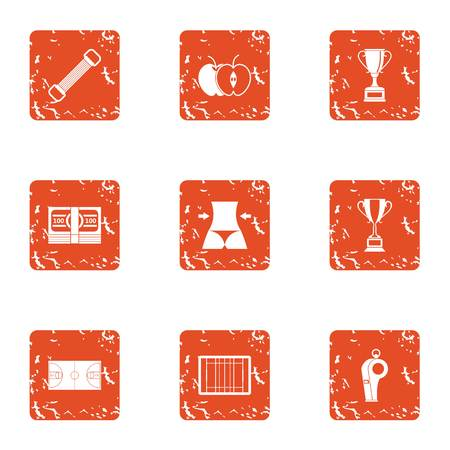 Sport under roof icons set. Grunge set of 9 sport under roof vector icons for web isolated on white background