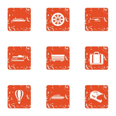 Dynamic icons set. Grunge set of 9 dynamic vector icons for web isolated on white background Çizim