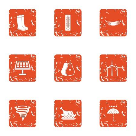 Energy village icons set. Grunge set of 9 energy village vector icons for web isolated on white background Illustration