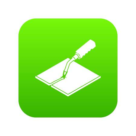 Welding torch icon green vector isolated on white background