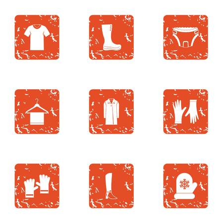 Vesture icons set. Grunge set of vesture vector icons for web isolated on white background