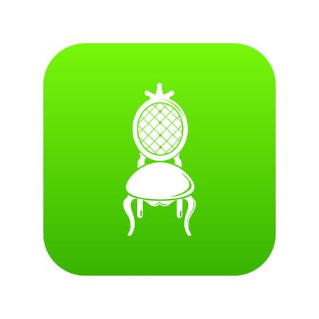 Throne icon green vector isolated on white background Vettoriali
