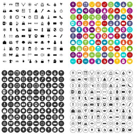 100 beautiful accessories icons set vector in 4 variant for any web design isolated on white Stock Illustratie