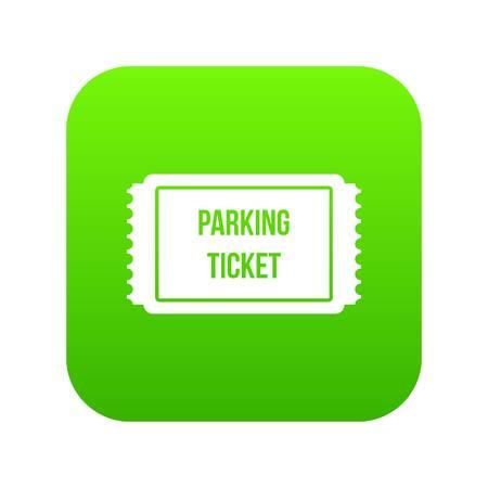 Biglietto di parcheggio icona verde digitale per qualsiasi design isolato su bianco illustrazione vettoriale Vettoriali