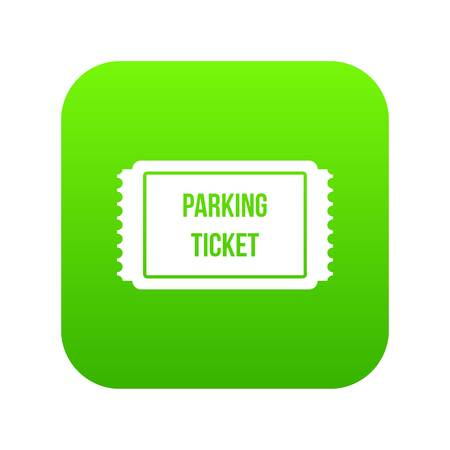 Parking ticket icon digital green for any design isolated on white vector illustration Vettoriali