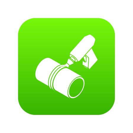Welding torch cutting icon green vector isolated on white background
