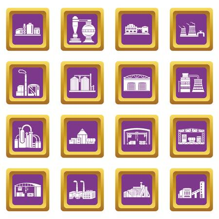 Factory icons set vector purple square isolated on white background Banque d'images - 100449796