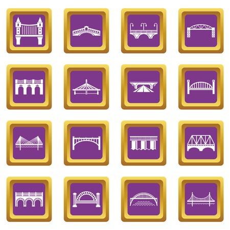 Bridge icons set vector purple square isolated on white background