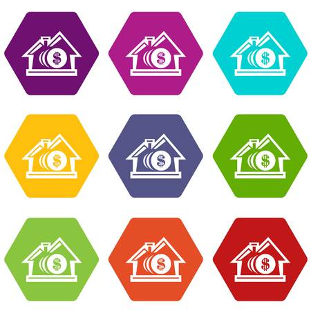 Bank icons set coloful isolated on white for web
