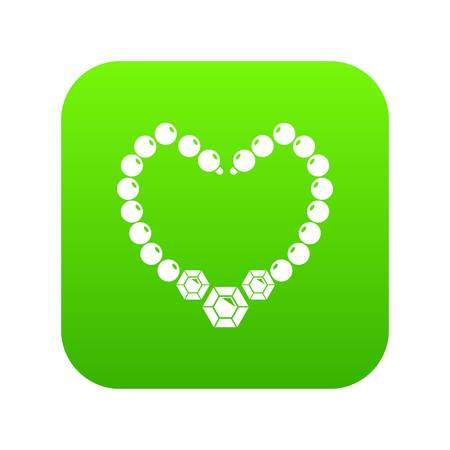 Necklace icon green vector isolated on white background Illustration