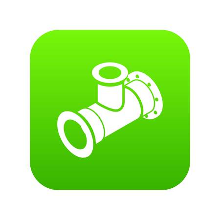 Tee pipe icon green vector isolated on white background