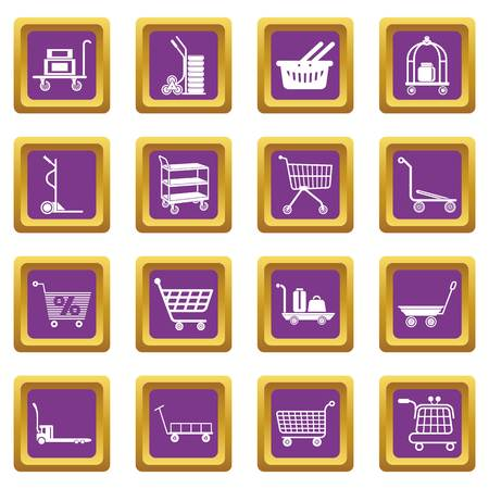 Cart types icons set vector purple square isolated on white background