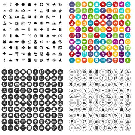 100 seaside resort icons set vector in 4 variant for any web design isolated on white Illustration