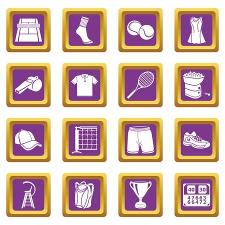 Tennis icons set vector purple square isolated on white background Ilustração