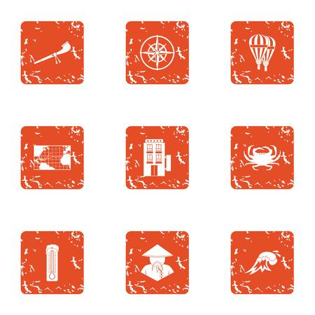 Mysterious asia icons set. Grunge set of 9 mysterious asia vector icons for web isolated on white background