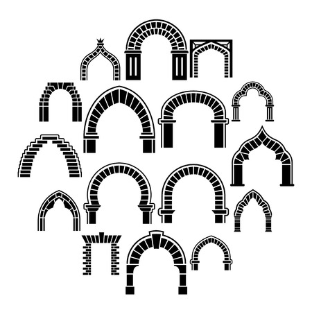 Arch types icons set. Simple illustration of 16 arch types vector icons for web 向量圖像