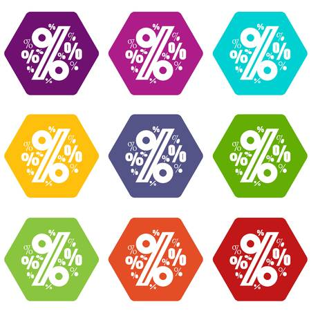 Percentage icons set coloful isolated on white for web