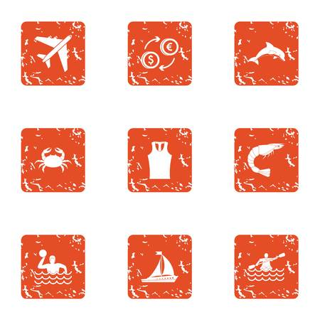 Trip wealth icons set. Grunge set of trip wealth vector icons for web isolated on white background