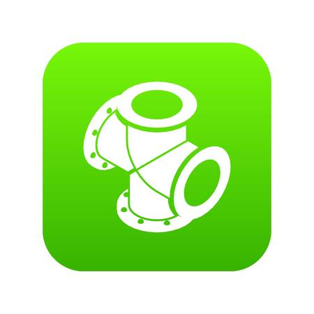 Cross pipe water icon green vector isolated on white background Illustration