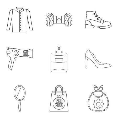 Petticoat icons set. Outline set of petticoat vector icons for web isolated on white background 向量圖像