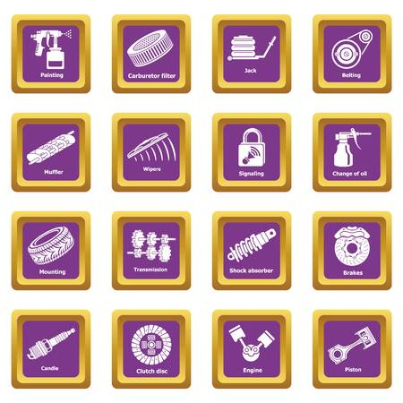Car repair parts icons set vector purple square isolated on white background