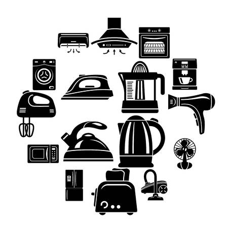 House appliance icons set. Simple illustration of 16 house appliance vector icons for web Illustration