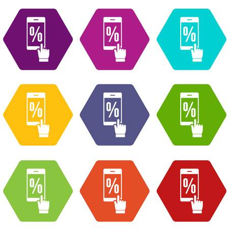 Percent on screen icons set coloful isolated on white for web Illustration
