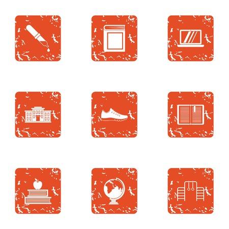 Whole school icons set. Grunge set of 9 whole school vector icons for web isolated on white background Illustration