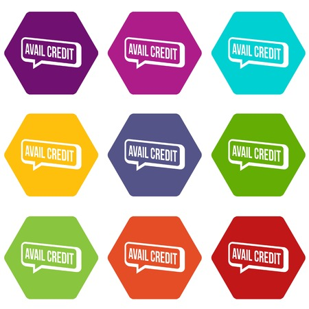 Avail credit icons 9 set colorful isolated on white for web. Vector illustration.