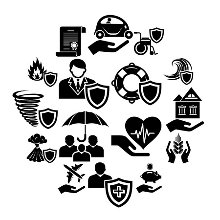 Insurance icons set. Simple illustration of insurance vector icons for web Illustration